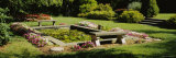Fountain with Two Benches in a Garden, Grand Rapids, Michigan, USA