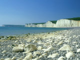 View East from Birling Gap of Seven Sisters Chalk Cliffs, Sussex, UK