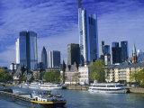 Barge on Water & Skyline, Frankfurt, Germany