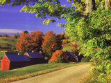 Red Barns Along Countryside, Vermont