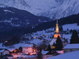 View of Village and Mont-Blanc, French Alps