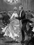 Illustration of a Victorian Era Couple Dancing at a Ball