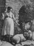 Peasant Woman Spinning Wool from Her Sheep and Goats
