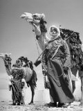 Arab Soldiers Standing Guard with Their Camels