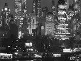 Night Panorama of New York City Buildings