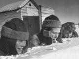 Two Boys and a Girl Up to Their Necks in a Snowdrift,Nibbling at the Snow