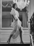 Model Prunelia Wearing a Marc Bohan Evening Dress