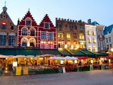 Cafes in Marketplace in Downtown Bruges, Belgium
