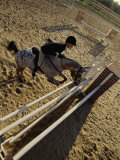 High Angle View of a Woman Riding a Horse Over a Hurdle