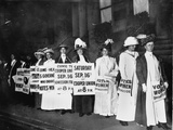 A Line of Women Rally for Women's Suffrage