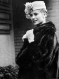 Actress Grace Kelly Posing Outside Her Apartment Building Before Leaving for Monaco