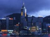 Hong Kong Convention Centre at Dusk, Seen from Kowloon, Hong Kong, China