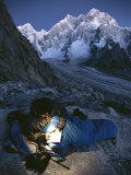 A Man in His Sleeping Bag in Charakusa, Karakoram, Pakistan