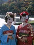 Apprentice Geisha (Maiko), Women Dressed in Traditional Costume, Kimono, Kyoto, Honshu, Japan