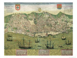 Map of Lisbon, from Civitates Orbis Terrarum by Georg Braun