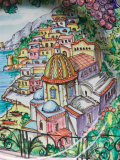 Painting of Positano on Ceramic Plate, Positano, Amalfi Coast, Campania, Italy