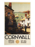 Cornwall, England - Street Scene with Two Men Working Railway Poster