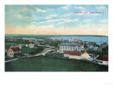 Block Island, Rhode Island - Aerial View of the Town