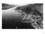 Air View of Ketchikan, Alaska and Boat Parade Photograph - Ketchikan, AK