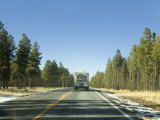 Arizona Road with Rv, Bordered By Pine Forests