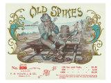 Old Spikes Brand Cigar Box Label, Railroad