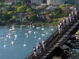 Bridge Climbers on Sydney Harbor Bridge, Sydney, Australia