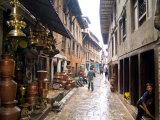 Wet Back Street Scene in Bhaktapur Town, Kathmandu, Nepal