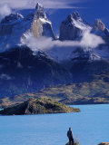 Hiker and Cuernos del Paine, Torres del Paine National Park, Chile
