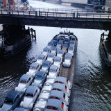 Low Aerials of Citroen Cars on Barge in Unidentified Waterssomewhere in Europe