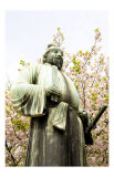 Bronze Statue, Cherry Blossoms of Spring