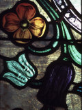 Close-Up of Decorative and Ornate Stained-Glass Windows in Church
