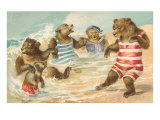 Bear Family Frolicking in Surf