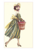 Victorian Woman in Stripped Dress Basket of Apples