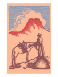 Woodcut of Cowboy with Horse and Mesa