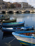 Traditional Fishing Boats in Harbour, Ortygia, Syracuse, Sicily, Italy, Mediterranean, Europe