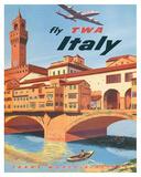 Fly TWA Italy, Florence, 1950s