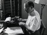 Writer Damon Runyon Working on Script at Desk
