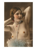 Topless Woman with Feather Boa