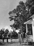 Farmers Family Saluting the Us Flag, During the Drought in Central and South Missouri