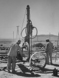 Men Looking at the Pneumatic Wagon Drills in the Nitrate Field