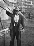 Man Working on Stalinallee, the Russian Housing Project