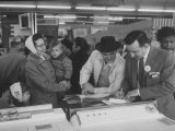 Shoppers Looking at Appliances in Polk's Department Store
