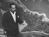 Cuban Leader, Fulgencio Batista Standing Next to a Map at the Time of the Student Revolution