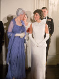 Mrs. John F. Kennedy, Wearing Long White Gown, Attending Reception in Canadian Capitol
