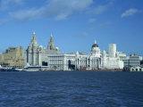 Liverpool Skyline across the Mersey River, England, United Kingdom, Europe