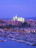 Boats in the Marina at Dusk with the Cathedral of Palma, Majorca, Balearic Islands, Spain