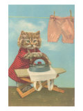 Dressed Kitten Ironing Clothes