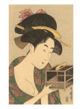 Japanese Woodblock, Lady with Box