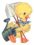 Duckling with Garden Tools