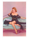 Woman in Black Lingerie on Telephone